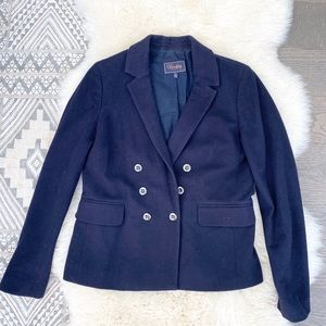 Madewell Wool Navy Double Breasted Blazer Jacket